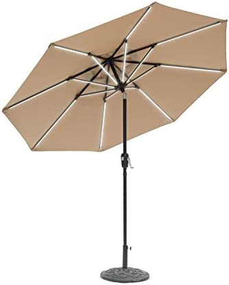 Sun-Ray 811029 9' Round Next Gen 8-Rib Solar Patio Umbrella 32 LED Within Unique Strip Lighting
