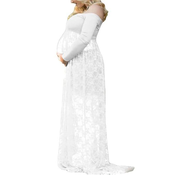ba280fac8 Vestido De Maternidad De Mujeres Larga Las Manga Modernas Casual Casual  Fuera del Hombro Envuelto Cuello Mujer Embarazada Vestido De Noche Elegante  Vestido ...