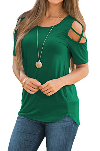 iGENJUN Women Short Sleeve Strappy Cold Shoulder T-Shirt Tops Blouses,XL,Green - Green Blouse Shirt