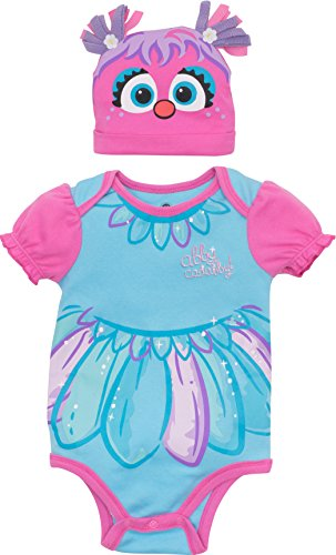 Sesame Street Abby Cadabby Baby Girls' Costume Bodysuit Hat, Blue Pink (3-6 Months) -