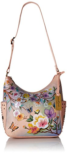 Anuschka Women's Hobo Leather Hand Painted Shoulder Bag, Japanese Garden by Anna by Anuschka