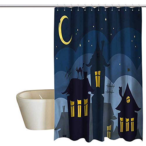 Denruny African Shower Curtains for Bathroom Navy Blue Halloween,Cartoon Town with Cat,W72 x L96,Shower Curtain for -
