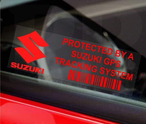 Platina Plaats 5 x PPSUZUKIGPSRED GPS ROOD op CLEAR Tracking Device Beveiliging WINDOW Stickers 87x30mm-Auto, Van Alarm…