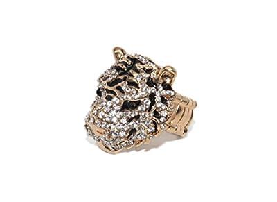Lux Accessories Rhinestone Tiger Cat Black Stone Stretch Ring
