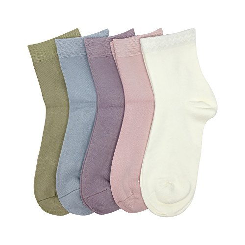 - Women Casual Socks Bamboo Lightweight sock Ankle Thin Breathable Odor Resistant Sock 5 Pairs (Assorted, Large)