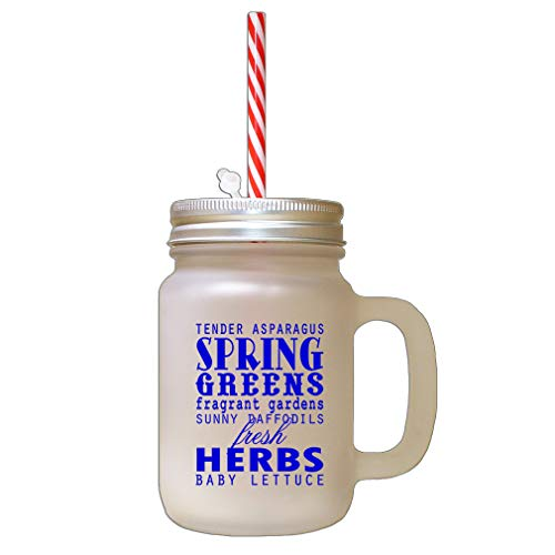 - Royal Blue Tender Asparagus Spring Greens Fragrant Gardens Frosted Glass Mason Jar With Straw