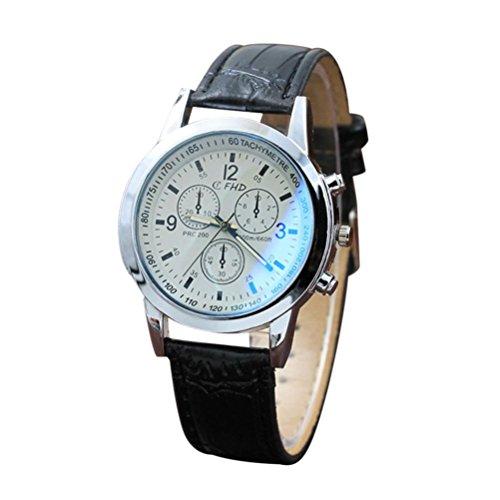 (Men's Watch, Hmlai Men's Fashion Casual PU Leather Band Quartz Analog Wrist Watch Chronograph Business Watches (B))