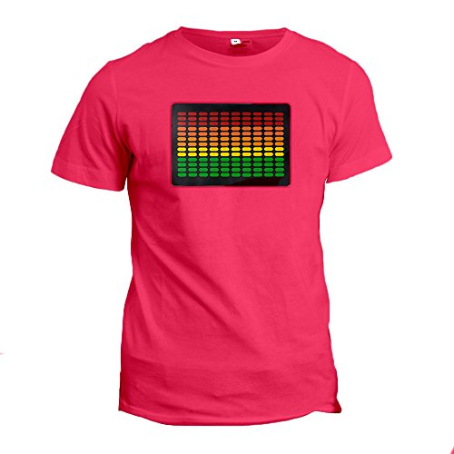 LED Equalizer Sound Activated Luminescent T-Shirt with Detachable Panel (XL, Cherry)