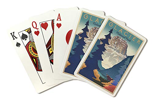 (Glacier National Park - Mountain Scene - Lithograph (Playing Card Deck - 52 Card Poker Size with Jokers))