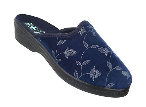 Damen Hausschuhe   Winter Pantoffel   Schluppen gefüttert   Haus Schuhe mit Absatz   Schuhcity24 Blau