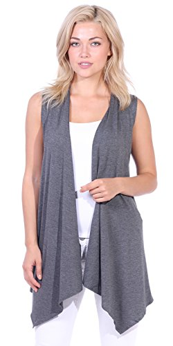 Popana Women's Casual Sleeveless Long Duster Cardigan Vest Plus Size Made in USA Large Charcoal