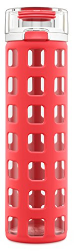 Ello Syndicate 20-Ounce BPA-Free Glass Water Bottle with Flip Lid, Coral