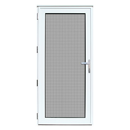 Titan 36x80 Meshtec Ultimate Security Storm Door | Aluminum Full View with Meshtec Advanced Screen & Glass| Recessed Mount | Left hand | 3pt lock system & high tensile-strength stainless steel screen