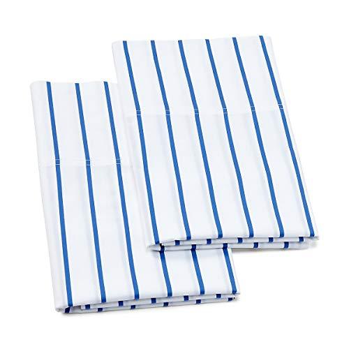 (Ralph Lauren Grand Plage Emilie Standard Pillowcase Set - Blue White Stripe)