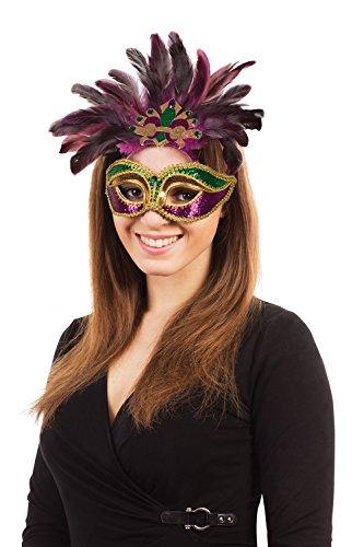 Carnevale. Viola/verde/oro piume + G/F (occhio maschere)–unisex–Taglia unica
