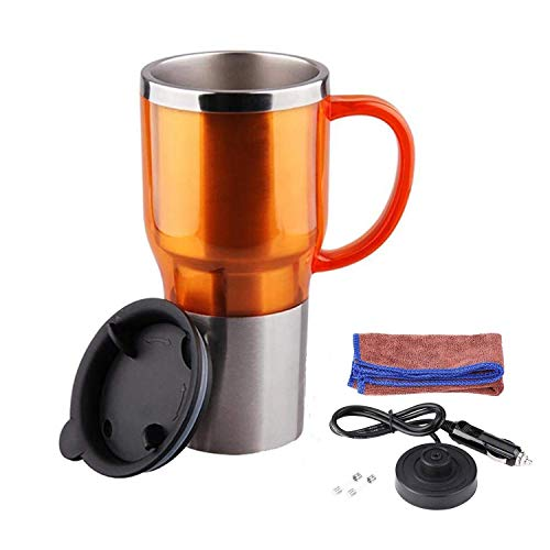 (Car Electric Kettle, Heated Travel Mug, Vacuum Insulated Stainless Steel,12V Adapter,16 Ounce (Orange))