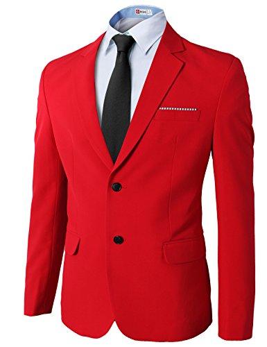 H2H Mens Classy Slim fit Premium Single Breasted Spandex Blazer RED US M+/Asia XL (KMOBL0106)