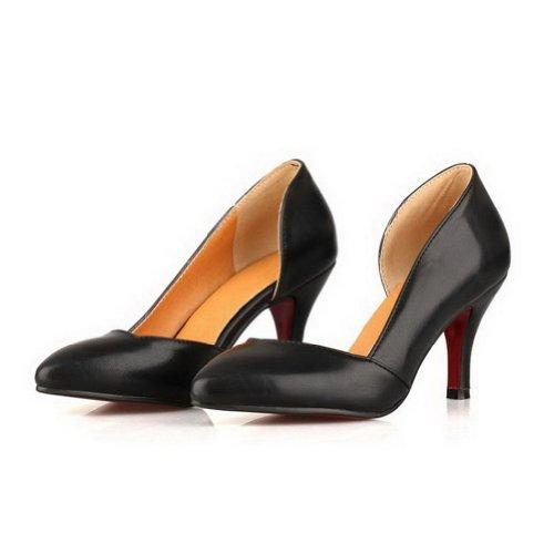 VogueZone009 Heel d Toe PU Stilettos Pumps Closed Spikes Pointed Black Soid Bottom orsay Womens High Red BawrnXBq