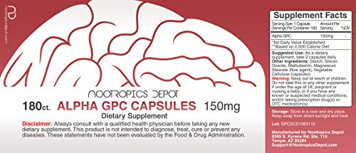 Alpha GPC Capsules | 150mg | 180 Count | Cholinergic Supplement | Brain Health Supplement | Supports Healthy Brain Function | Enhance Cognition, Memory + Focus by Nootropics Depot (Image #1)