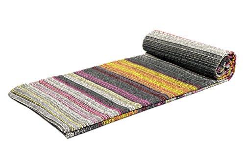 Cheap Handwoven Outdoor Grey Yoga Blanket – Handmade Multicolor Yoga Rug Mat, Beach Blanket, Picnic Blanket Or Decorative Throw – Grey Striped Yoga Mat Size