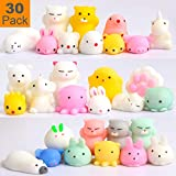 Squishy Toys Party Favors for Kids - Squishys 30 Pack Mini Mochi Squishies, Pinata Filler Treasure Box Prizes Classroom Unicorn Cat Stress Reliever Pug Stuffed Animal Silicon Panda Plushies by Feroxo