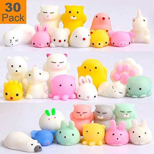 Squishy Toys Party Favors for Kids - Squishys 30 Pack Mini Mochi Squishies, Pinata Filler Treasure Box Prizes Classroom Unicorn Cat Stress Reliever Pug Stuffed Animal Silicon Panda Plushies by Feroxo]()