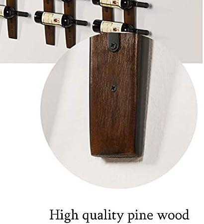 Estantería de vino Sólida pared de vino de madera montado en rack de almacenamiento, estantería y armario, sala de estar despensa Bodega Restaurante Decoración rack, 6 Botellas natural de madera de pi