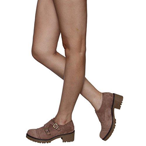 ... Beston Ej61 Kvinners Chunky Hæler Faux Suede Perforert Oxford Kjole  Støvler Med Spenne Stropp Taupe ...