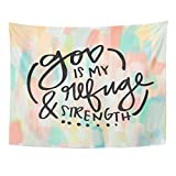 AlliuCoo Wall Tapestries 60 x 50 inches Brush Christian God is My Refuge Strength Quote Bible Verse Calligraphy Home Decor Wall Hanging Tapestries Living Room Bedroom Dorm
