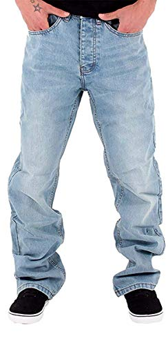(Rocawear Mens Boys Double R Star Loose Fit Hip Hop Jeans is Money G Time SWB (W34 - L34) Stone Wash)