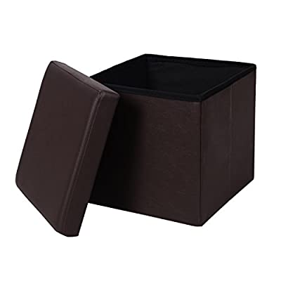 SONGMICS Faux Leather Storage Ottoman Cube Footrest Coffee Table Stool