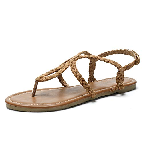 SANDALUP Flat Sandals Hand-Woven with Canvas for Summer Women. Brown 09