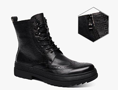 Homme Classique Commercial Leather Chaussures en Cuir pour Hommes Martin Boots Chaussures à Lacets Bottes Courtes Hiver British Style Tooling Army Bottes Cuir (Couleur : Noir, Taille : EU39/UK6) Noir