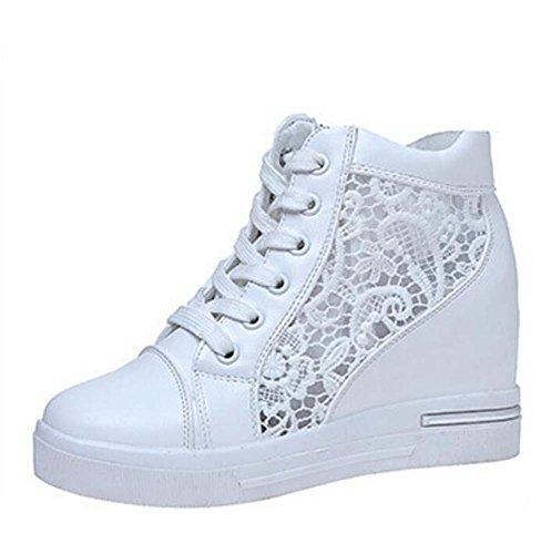Casuales 35 Zapatos atléticos Deporte Blanco Mujer Zapatillas de Cómodo Blanco de Plataforma Respirables Plata de Zapatillas 39 Talla 1qUw4BZYW