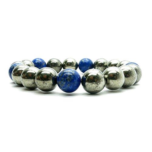 Pyrite Bracelet 13 - Genuine Lapis Blue Fools Gold Round Gemstone Stretch (5.5 Inches)