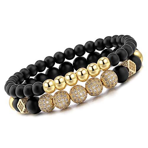 Meangel 8mm Charm Beads Bracelet for Men Women Black Matte Onyx Natural Stone Beads, 7.5