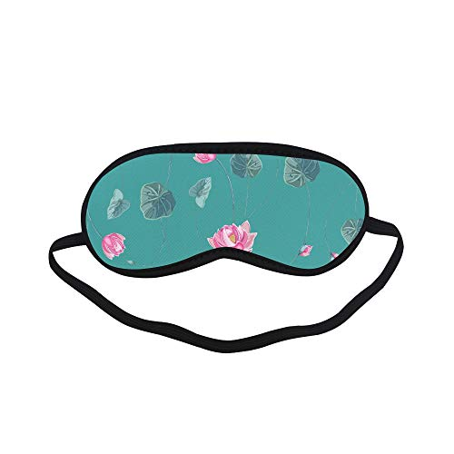 All Polyester Lotus Leaf Hand-Painted Color Sleeping Eye Masks&Blindfold by Simple Health with Elastic Strap&Headband for Adult Girls Kids and for Home Travel