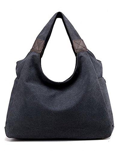 AalarDom Mujeres Puntadas de contraste Viajar Bolsas de hombro Bolsas de mano, TSMBG181422, Blanco Negro-l