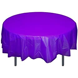 6-Pack Premium Plastic Tablecloth 84in. Round Plastic Table cover - Purple