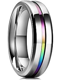LOOP 6mm Titanium Ring Thin Line Rainbow Groove Wedding Band Comfort Fit for Men Women