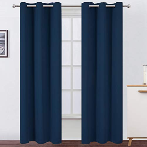 - LEMOMO Navy Blue Blackout Curtains/42 x 84 Inch/Set of Two Panels Thermal Insulated Room Darkening Curtains for Living Room and Bedroom