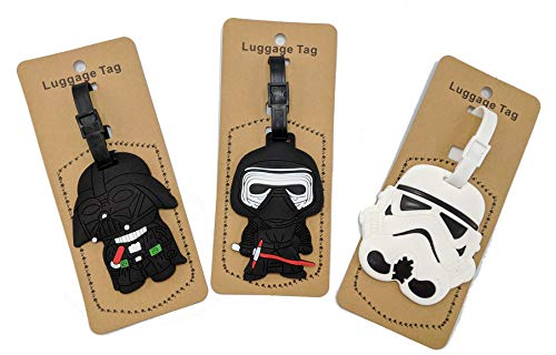 Set of 3 - Super Cute Kawaii Cartoon Silicone Travel Luggage ID Tag for Bags Suitcases (Assorted) (Star Wars)