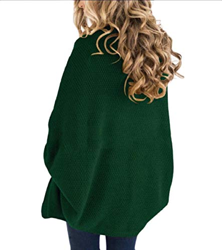 Casual Knitted Front Mogogo Coat Green Size Plus Fall Winter Open Top Women's RpFw7B8q