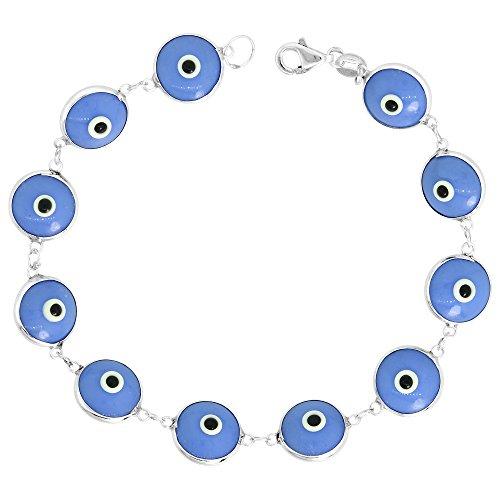 Luck Blue Evil Eye Bracelet - Sterling Silver Evil Eye Bracelet Denim Blue Color, 7 inch