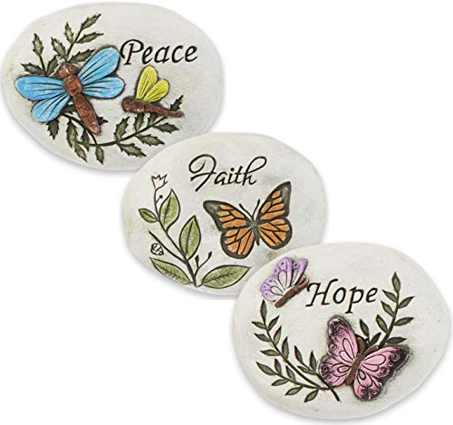 Garden Stones Decorative Set of 3 Butterfly Dragonfly Fairy Garden Accessories Bundle of 3 Cement Stones with Sayings Hope Peace Faith ()