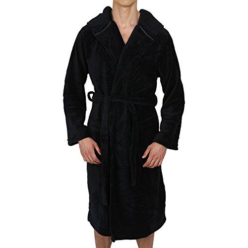 Regency New York Coral Fleece Hooded Robe Black Small/Medium