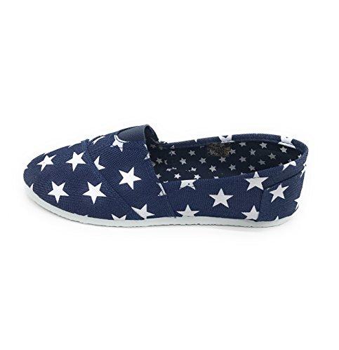 Blue Berry EASY21 Women Canvas Round Toe Slip On Flat Fashion Sneaker Denim Star 1USMYnva