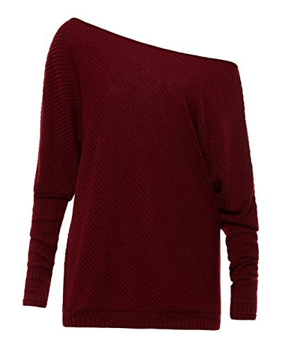 Felpa Lunga Blouse Pullover Pipistrello Maglietta Maglione Tops Vino Rosso a Casuale Maglie Spalline Senza Jumper Donna Bluse Manica Allentato Swa1IqqF