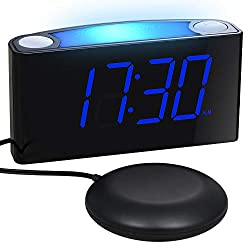 Loud Alarm Clock with Bed Shaker for Heavy Sleepers, Deaf, Elders, Kids, Bedrooms, Home, Kitchen - Large Display, Full Dimmer, 7-Color Night Light, USB Chargers, Dual Alarm, 12/24 H, Battery Backup