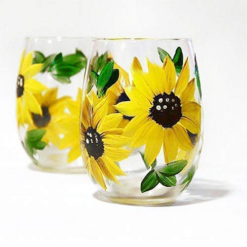 Sunflower Stemless Wine Glass Set of 2, Hand Painted Yellow Sunflowers 15 oz, Wine Gift Set, Choose Stemmed or Stemless wine glasses (Etched Floral Wine Glasses)